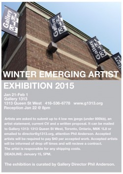 CALL FOR SUBMISSION: Winter Emerging Artist exhibition 2015