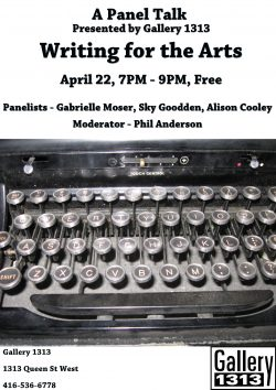 A Panel Talk – Writing for the Arts, April 22