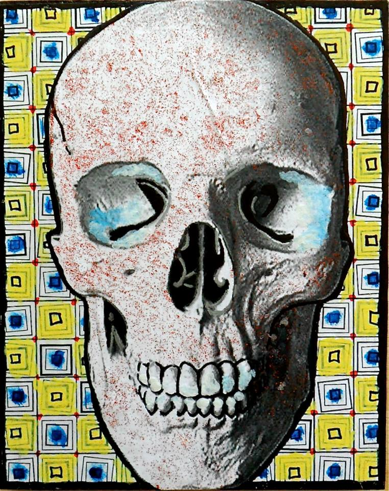 Mr Skull 8x10 collage on panel