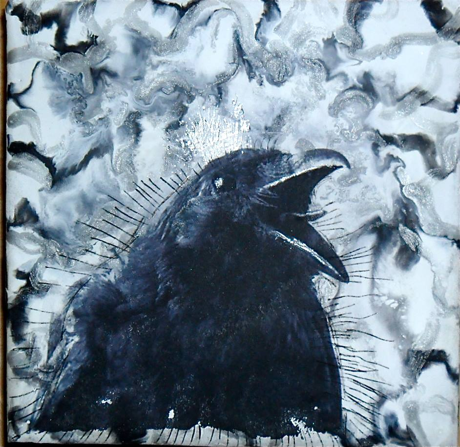 Winter is Coming 6 x 6 encaustic