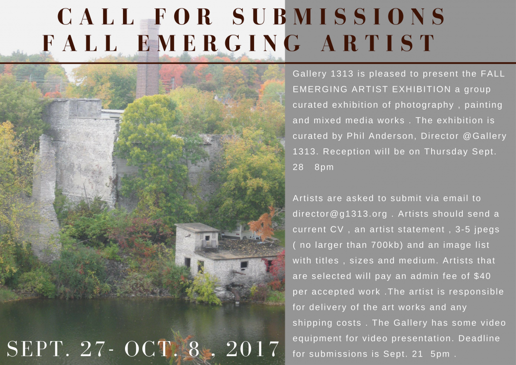 Call for Submissions: Fall Emerging Artsis